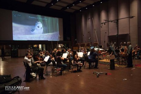 Piper scoring session, composed by Adrian Belew, with Director Alan Barillaro and Producer Marc Sondheimer, on April 18, 2016 at Skywalker Sound in Nicasio, Calif. (Photo: Kristen Loken/©Disney•Pixar)